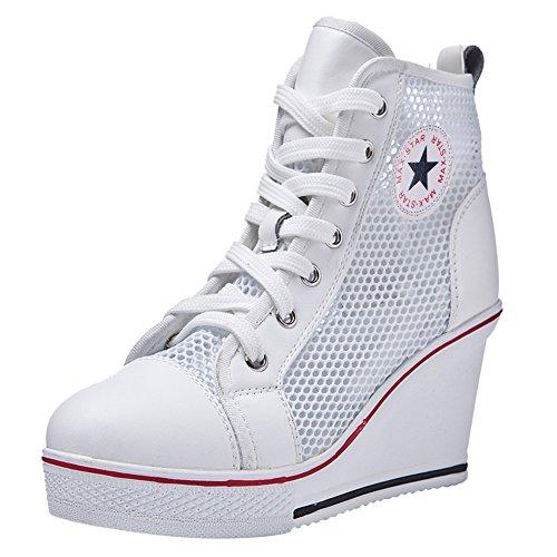 Qimaoo Damen Mächen Keilabsatz Schuhe Canvas Sneaker Mesh Sommer Schuhe für Freizeit, Schwarz Weiß