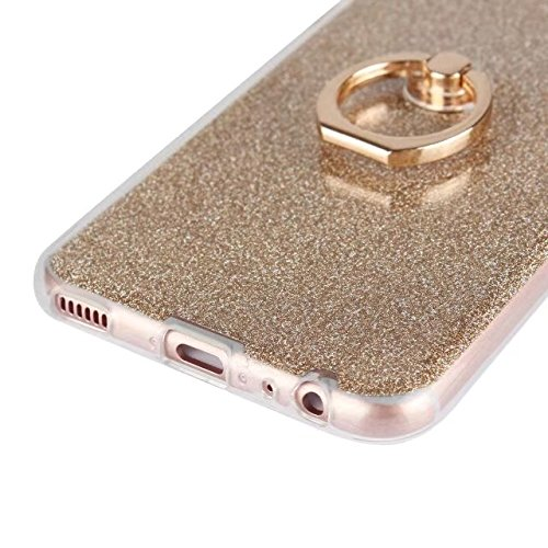 Luxus Bling Sparkle Style Case, Soft TPU [Silikon] Flexible Glitter Back Cover [Anti Scratch] mit Fingerring Stand für Huawei P10 ( Color : White ) Gold