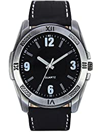 Style Keepers Round Dial Analogue Black Dial Black Leather Strape Fashion Wrist Watch For Men & Boys | RR_VL_0034