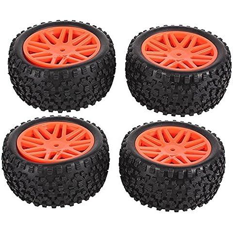 Youzone Red anteriore posteriore in plastica 16 razze Cerchi e nero ad alta Grip pneumatici in gomma per RC 01:10 Off-Road Car Buggy (confezione da 4)