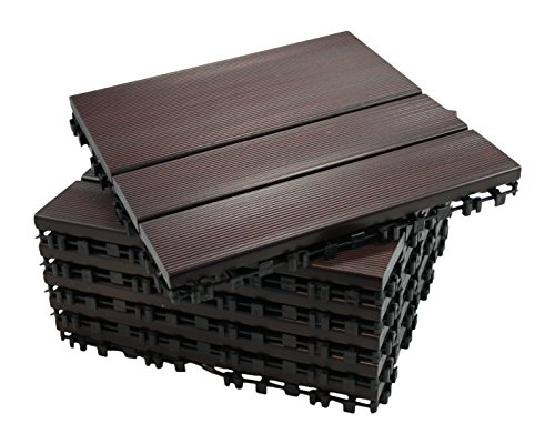 ECO-PAVE 7020343103764 Wasserrutschfester Boden dunkel mahagonifarben 30 x 30 cm 6 Stück
