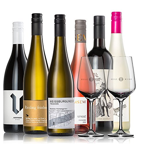 GEILE WEINE Weinpaket EINSTEIGERSET (6 x 0,75) Probierpaket mit Weißwein, Rotwein und Rosé von...