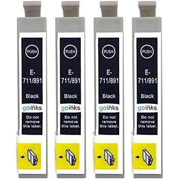 Go Inks E-711 Lot de 4 Cartouches d'encre pour Imprimante Noir
