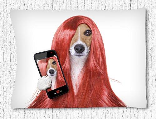 CELYCASY Animal Wandbehang Tapisserie, Hunde mit langem rot Perücke Fotos Schlafzimmer Wohnzimmer Wohnheim Wandbehang Hippie Tapisserie 101,6x 152,4cm