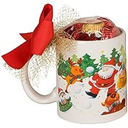 Mopec Taza de Navidad de Batalla de Bolas de Nieve con 6 Bombones en Caja Regalo, Porcelana, Blanco, 8x8.2x9.5 cm