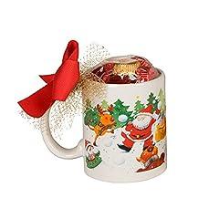Idea Regalo - Mopec ngb3048–Tazza di Natale di Battaglia di Palle di Neve con 6cioccolatini in Confezione Regalo, Colore: Bianco
