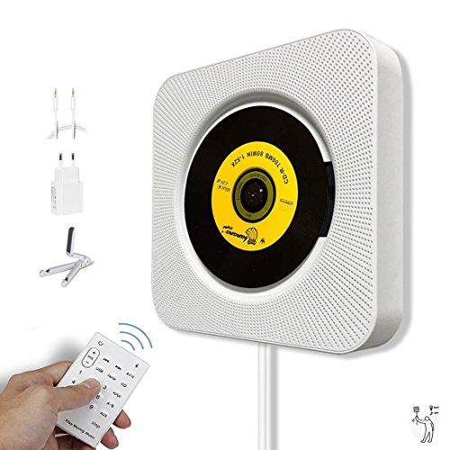 Bluetooth-CD-Player, Alice Dreams Wand montierbar HiFi Lautsprecher Radio mit Fernbedienung USB MP3 3,5 mm Kopfhörer-Buchse Aux Eingang/Ausgang,Weiß (Weiß) (Mp3-bluetooth-home Kit)