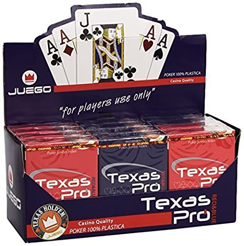 Juego Texas Hold'em Pro 1 Deck of Poker Playing Card Games in Casino Quality, 100% Plastic - Red/Blue by