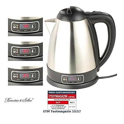 Rosenstein & Söhne Teekocher: Edelstahl-Wasserkocher mit Temperatur-Wahl, 1,8 Liter, 1.800 Watt (Wasserkocher mit (Bewertung Wasser)