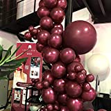 PuTwo Luftballons Matt 50 Stück 12 Zoll Luftballons Weinrot Luftballon Bordeaux Luftballon Burgunder, Helium Luftballons Latexballons für Weinrot Deko, Deko Bordeaux Rot, Deko Burgund, Deko Geburtstag