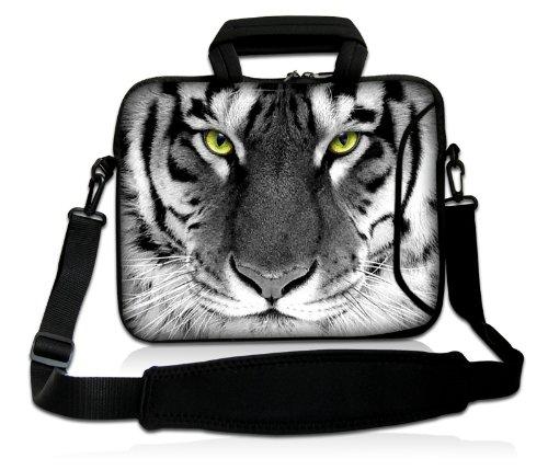 Luxburg® Design Laptoptasche Notebooktasche Sleeve mit Schultergurt und Fach für 15,6 Zoll, Motiv: Tigeraugen -