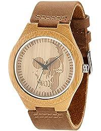 wonbee la madera de bambú de los hombres relojes con correa de piel de vaca Natural y diseño de calavera, marrón, se envía en una caja, Bono 2pulseras de madera
