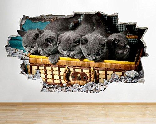 tekkdesigns F776grau Kätzchen Korb Cat Cute zerstörten Wand Aufkleber 3D Kunst Aufkleber Vinyl Raum -