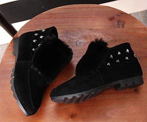 MEILI Scarpe da donna, stivali da donna, oltre a cashmere, stivali da neve, stivali, scarpe da ginnastica, studenti, scarpe piatte, antiscivolo, calde, in cotone, moda black