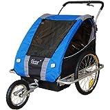 Remolque de bici para niños con kit de footing, color: azul / gris - 30318-03