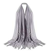 Rosennie Fashion Scarf for Women Winter Lightweight Warm Soft Muslim Islamic Lace Tassel Hollow Long Hijab Stole Wrap Elegant Casual Ladies Scarves Shawl Infinity Gift