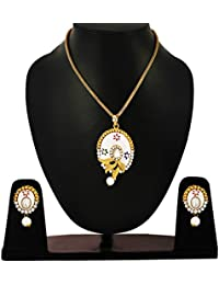 Fresh Vibes | White Lakh Earrings And Pendant Necklace Set For Women | Womens Pendent Earings Jewelry Set