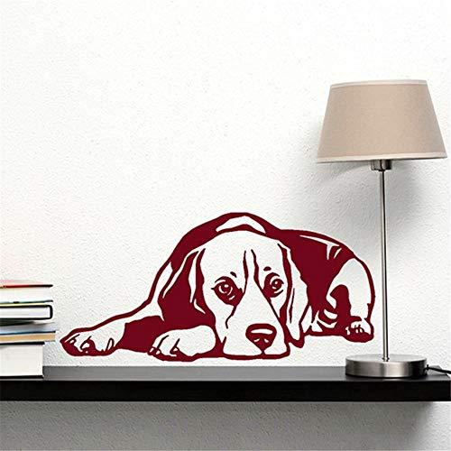 guijiumai Neue Hund Abziehbild Beagle Liegerad Vinyl Wandaufkleber Steuern Dekor Wohnzimmer Wandkunst Wand Hund Ist Der Treueste Partner des Menschen schwarz 55x117 cm