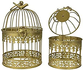 AVMART Home Decorative Designer Bird Cage (Set of 2) with Hanging - Gold