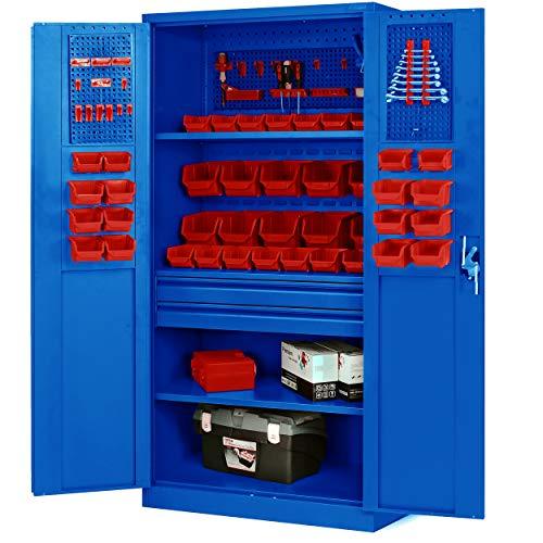 Werkzeugschrank TC02AM Werkstattschrank mit Schubladen Flügeltüren 3 Fachböden Pulverbeschichtung...