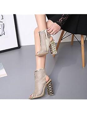 KHSKX-De Verano Zapatos De Oro Transpirable Hollow Zapatos De Cuero Zapatos De Tacones Madre Zapatos Con Pendiente...