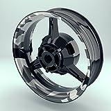 Felgenrandaufkleber Motorrad 4er Komplett-Set (17 Zoll) - Felgenaufkleber Camouflage Snow (schwarz-weiß) (Design 1 - matt)
