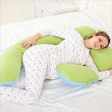 DU&HL U confortable pleine Body Pillow, soulagement de la douleur Oreiller, coussin d'allaitement Avec 100% coton couverture, dos et soutien du ventre! Grand cadeau pour maman et bébé (vert et bleu)