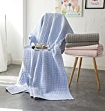 Alicemall Tagesdecke Bettüberwurf Baumwolle Quilt für Bett Sofa Patchwork Gesteppt Steppdecke 200x230 cm - Blau