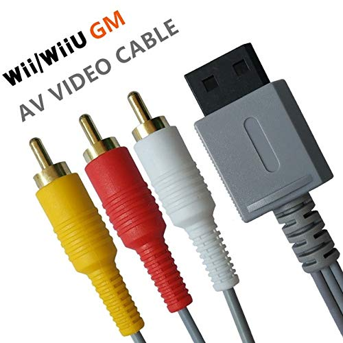 Wii/Wii U AV-Kabel – 1,8 m Audio Video Kabel Composite 3 RCA vergoldet High Definition für Nintendo TV HDTV Display