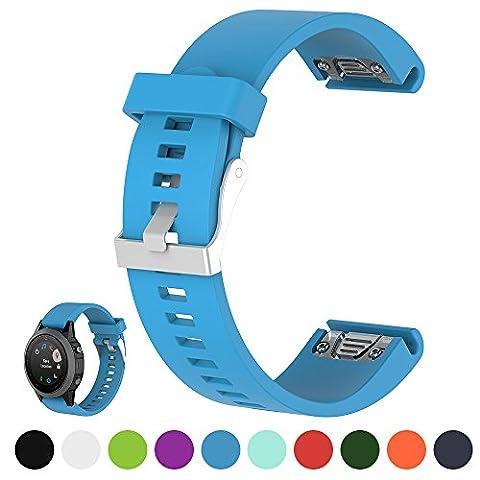 Pour GPS Garmin F? Nix 5S/Fenix 5S saphhire Smart Watch–Multi Montre de sport Bracelet de Montre bracelet cordon–ifeeker 20mm Largeur souple en silicone Bracelet de Montre de rechange pour Garmin Fenix 5S/Fenix 5S Sapphire Courir Montre Smart Watch (pas Appareil, bande de rechange seulement), bleu