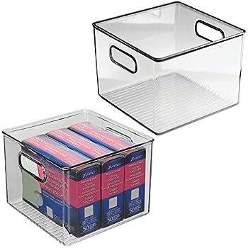 Contenitore per la conservazione di utensili da cucina Scatola per la scrivania in plastica grigio fumo mDesign Set da 4 Scatola di immagazzinaggio con maniglie integrate da bagno o da ufficio