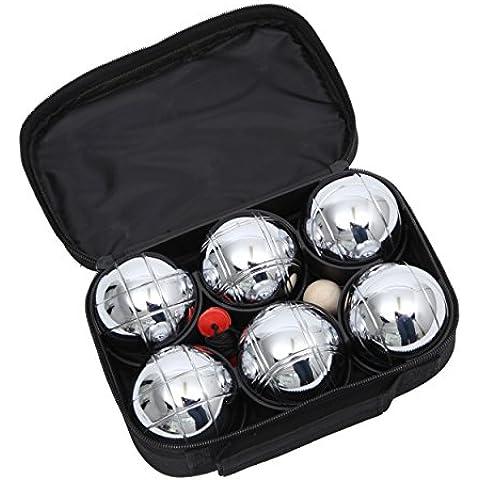 OCEAN 5 Petanca Set de 6 piezas - incluido bola, cinta métrica y una bolsa de nailon - para el parque, jardín o