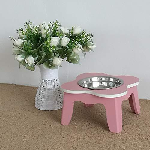 Pet Feeder, bemalte hölzerne Hundeschüssel Tisch, Edelstahl Cat Dish Halter schützt Halswirbel - Moderne Stahl-tisch