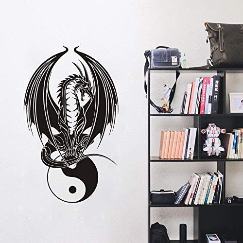 Kunst Wohnkultur Chinesischen YIN YANG Drachen Wandaufkleber Wohnzimmer Vinyl Home Interior Schlafzimmer Wandtattoo Poster 57 * 95 cm - Der Drache Flammen Liebe Mit