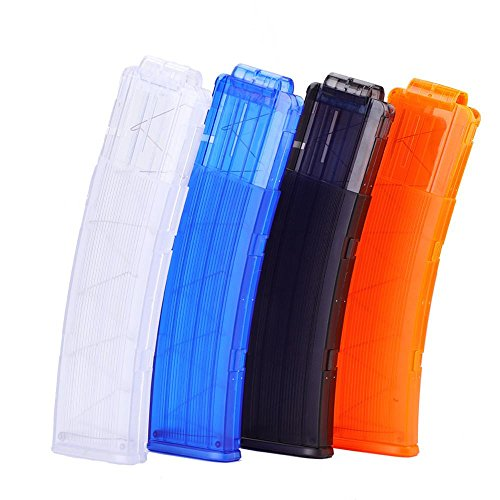 Tbest 4 Colori Eva Soft Bullet Clip 22 Portamonete a dardi in plastica per Pistola Giocattolo Dart Gun Nerf(Blu)