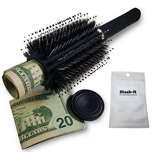 Haarbürste mit Geheimfach, mit geruchsneutralem Beutel von Stash-it – geheimer Deckel an der...
