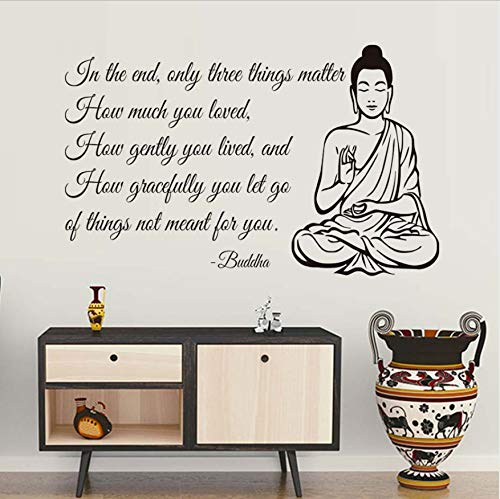 legenheit yoga gym decor buddha wandaufkleber für wohnzimmer wandtattoos kunstwand zitat dekoration 58x94 cm ()