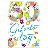 Susy Card 11288917 Glückwunschkarte Geburtstag, Zahl - 50, Blumen, A4