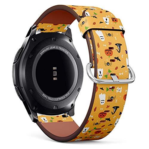mit für Samsung Gear S3 Frontier/Classic - Leder-Armband Uhrenarmband Ersatzarmbänder mit Schnellverschluss (Halloween-Postkarte) ()