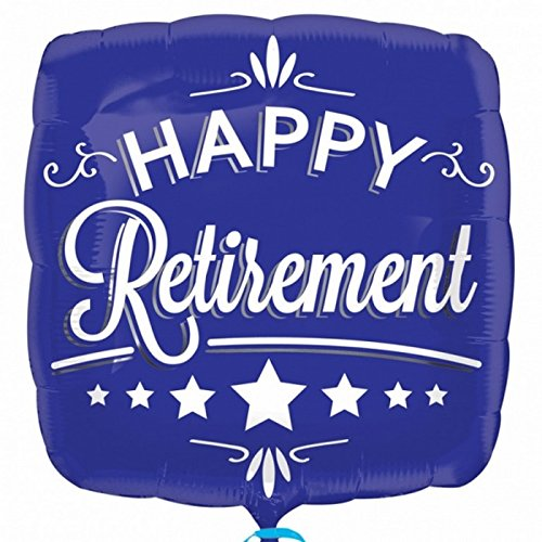 Anagram - Globo cuadrado para jubilación texto Happy Retirement en azul (46cm/Azul)