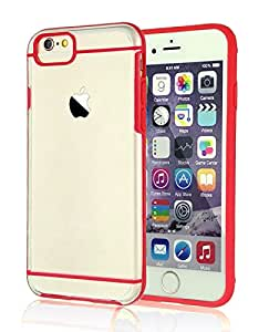 iPhone 6 Case, Colorful POPO Ultra Hybird Clear Square Back Design Hard PC Case Covers with Colorful TPU Bumper for iPhone 6& 6s 4.7 Inch (Red)