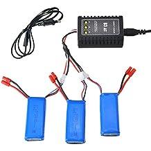 COSANSYS® Dron 3pcs 7.4V 2500MAH batería RC Quadcopter para syma x8c / x8w / x8g 1pcs B3 LiPo 7.4-11.1V 2S-3S Balance de Batería del Cargador y 1pcs 3 en 1 Cable de Carga Conjunto de Batería