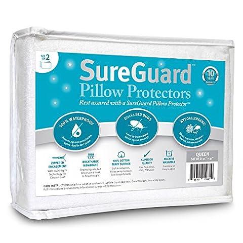 Set von 2SUREGUARD Kissen Protektoren-100% wasserdicht, bed bug Proof, hypoallergen-PREMIUM Reißverschluss Baumwolle Terry bedeckt-10Jahre Garantie, baumwolle, weiß, Queen