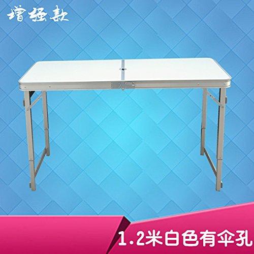 Stühlen Folding Picknick-tisch Mit (Xing Lin Klapp Tisch Klapptisch Kleine Familie Home Meal Folding Picnic Tisch Einfach Outdoor Portable Stall Tabelle Tragbaren Tisch 120 * 60 * 70 Cm, Erweiterte 1,2 Meter Weißer Schirm Bohrung)