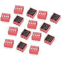 sourcing map 15uds Interruptor Dip 2 Filas 8 Terminales 6 Posiciones de Interruptor Pasador de Paso de 2,54mm