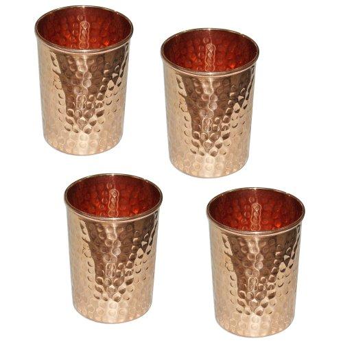 Vaso cobre vidrio martillado para la curación ayurvédica de producto sistema de 4