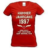 Damen Frauen Shirt 21. Geburtstag Geburtstagsgeschenk Hammer Jahrgang 1997 Mädchen,Girls,Freundin, Tante,Tochter Farbe: Rot Gr: M