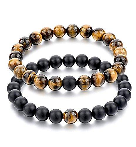 Buddha Perlenarmband 2-er set aus echten Natursteinen, Chakra-Armband für Damen und Herren, Yoga-bracelet, Galeara ZEN (Schwarz/Braun)