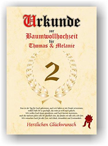 Urkunde zum 2. Hochzeitstag - Baumwollhochzeit - Geschenkurkunde Baumwoll Hochzeit personalisiertes Geschenk Urkunde DIN A4