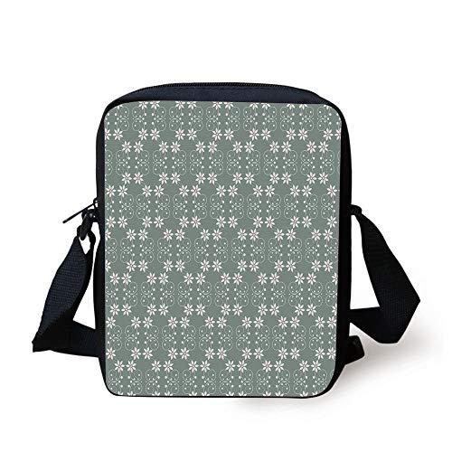 Garden,Artistic Baroque Style Inspired Delicate Daisy Flower Petals and Dots,Light Sage Green White Print Kids Crossbody Messenger Bag Purse Kraft Sage Green